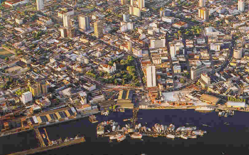 Downtown Manaus and the Negro River -- picture from an Amazon Cards postcard; photo copyrighted by Leonide Principe.